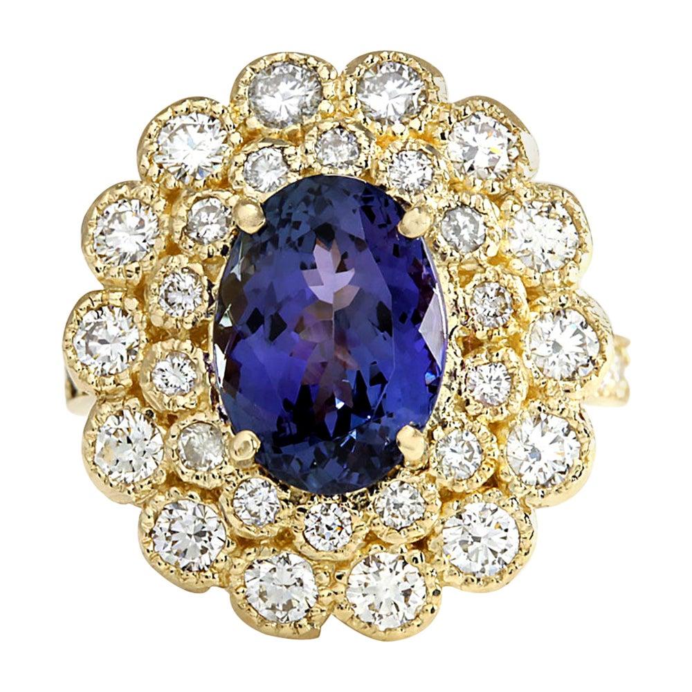 5.32 Carat Natural Tanzanite 18 Karat Yellow Gold Diamond Ring