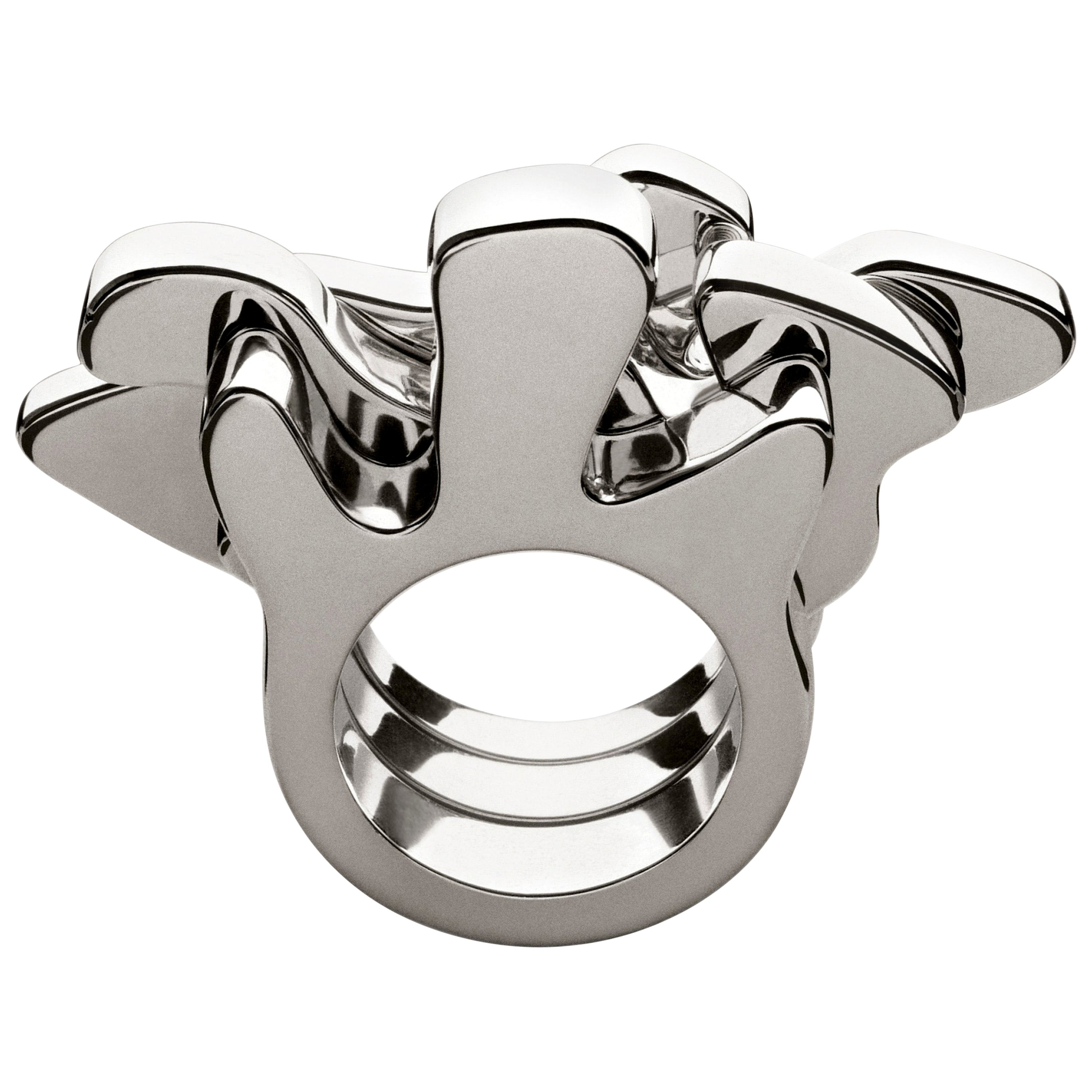 Nathalie Jean Contemporary Sterling Silver Sculpture Fashion Cocktail Ring