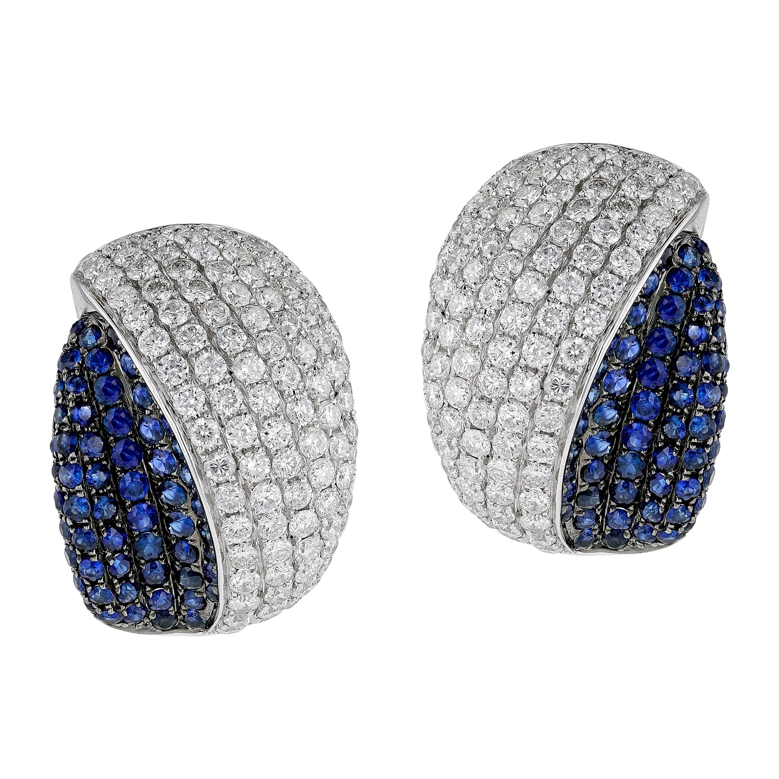 Amwaj Jewelry Blue Sapphire Earrings in 18 Karat Gold