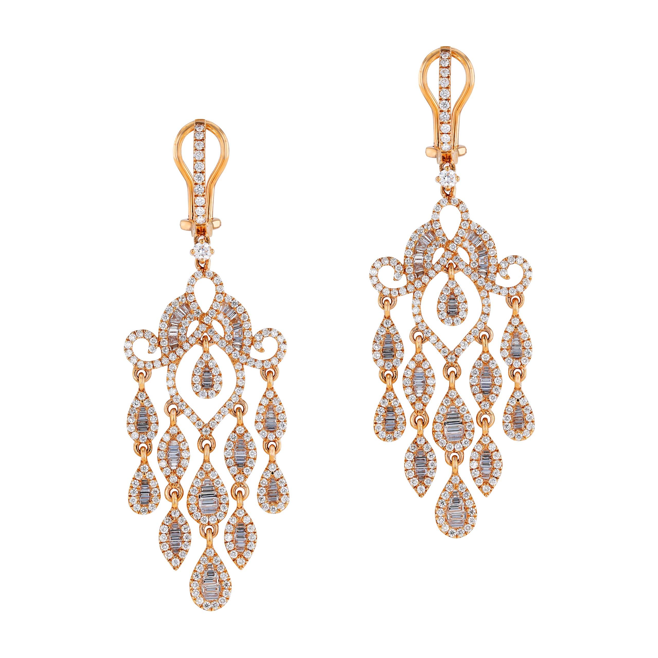 Amwaj Jewelry Rose Gold with White Diamonds Earrings