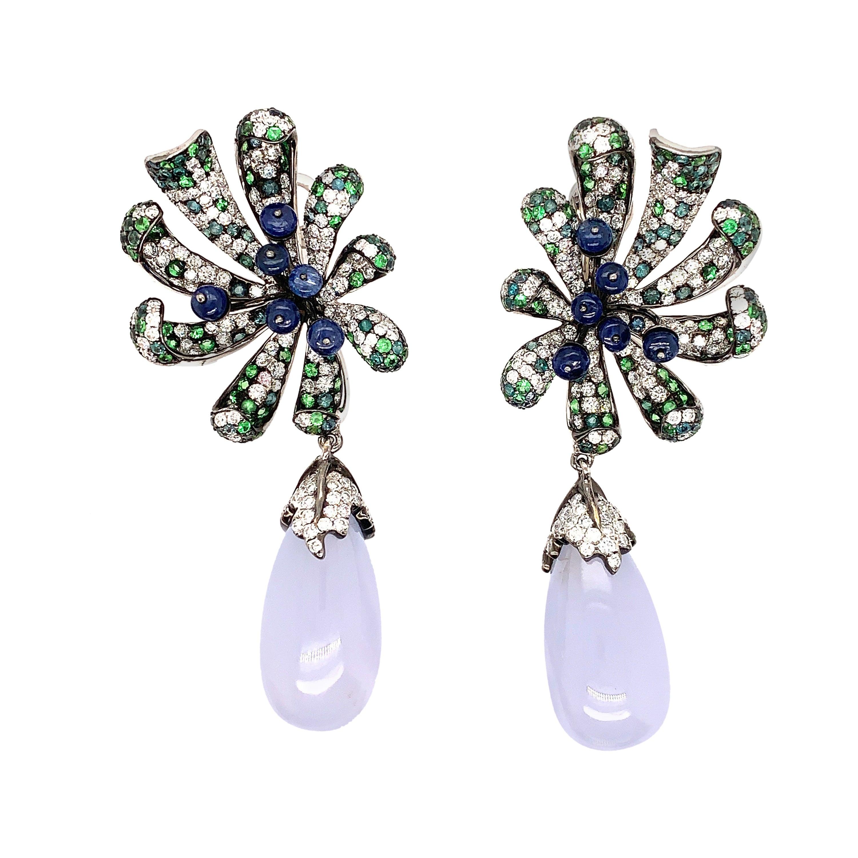 48 Carat Chalcedony/ light blue Designer 18kw dangling Earring
