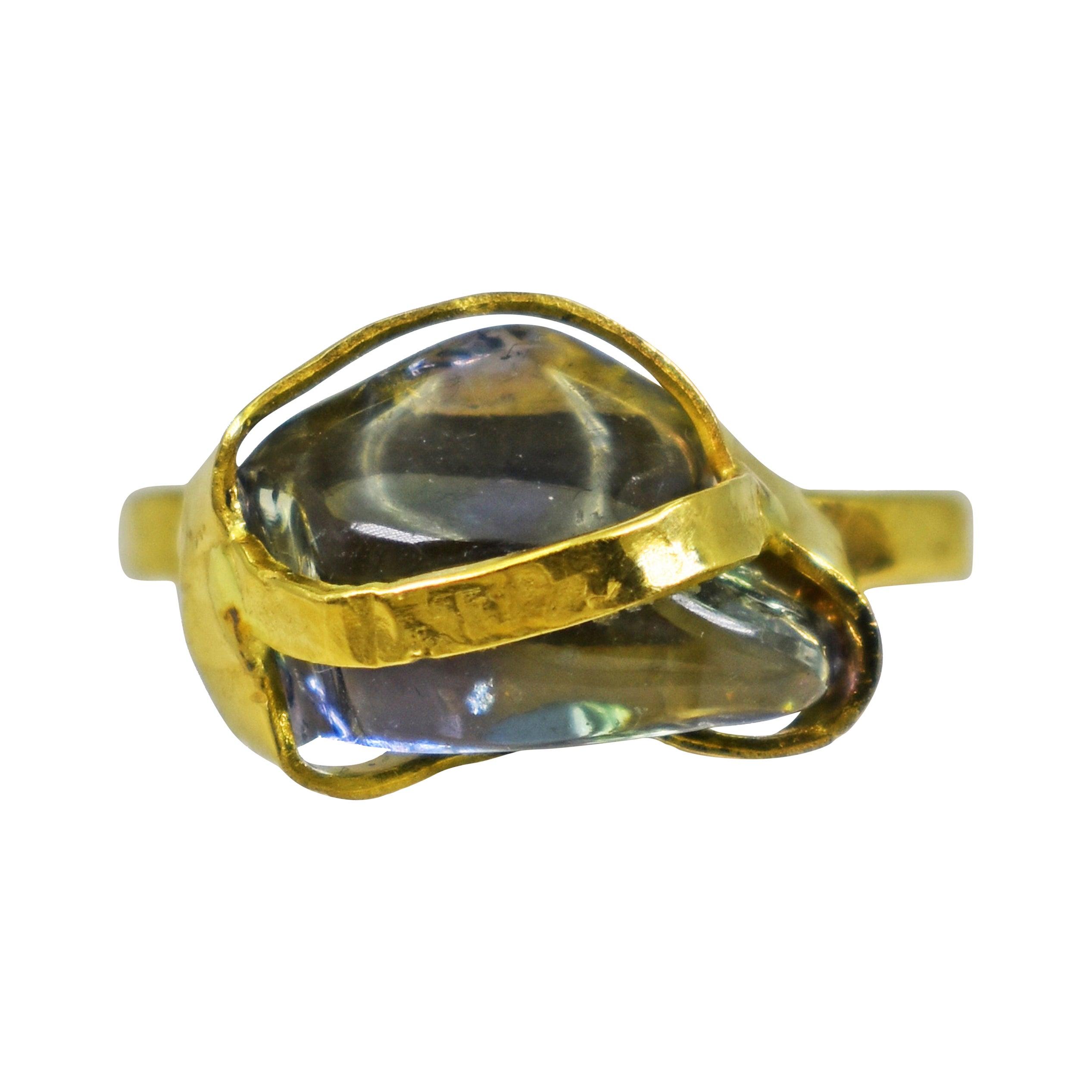 Polished Rough Sapphire 22 Karat Gold Cocktail Ring