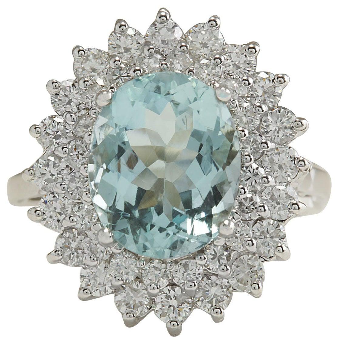 7.03 Carat Natural Aquamarine 18 Karat White Gold Diamond Ring