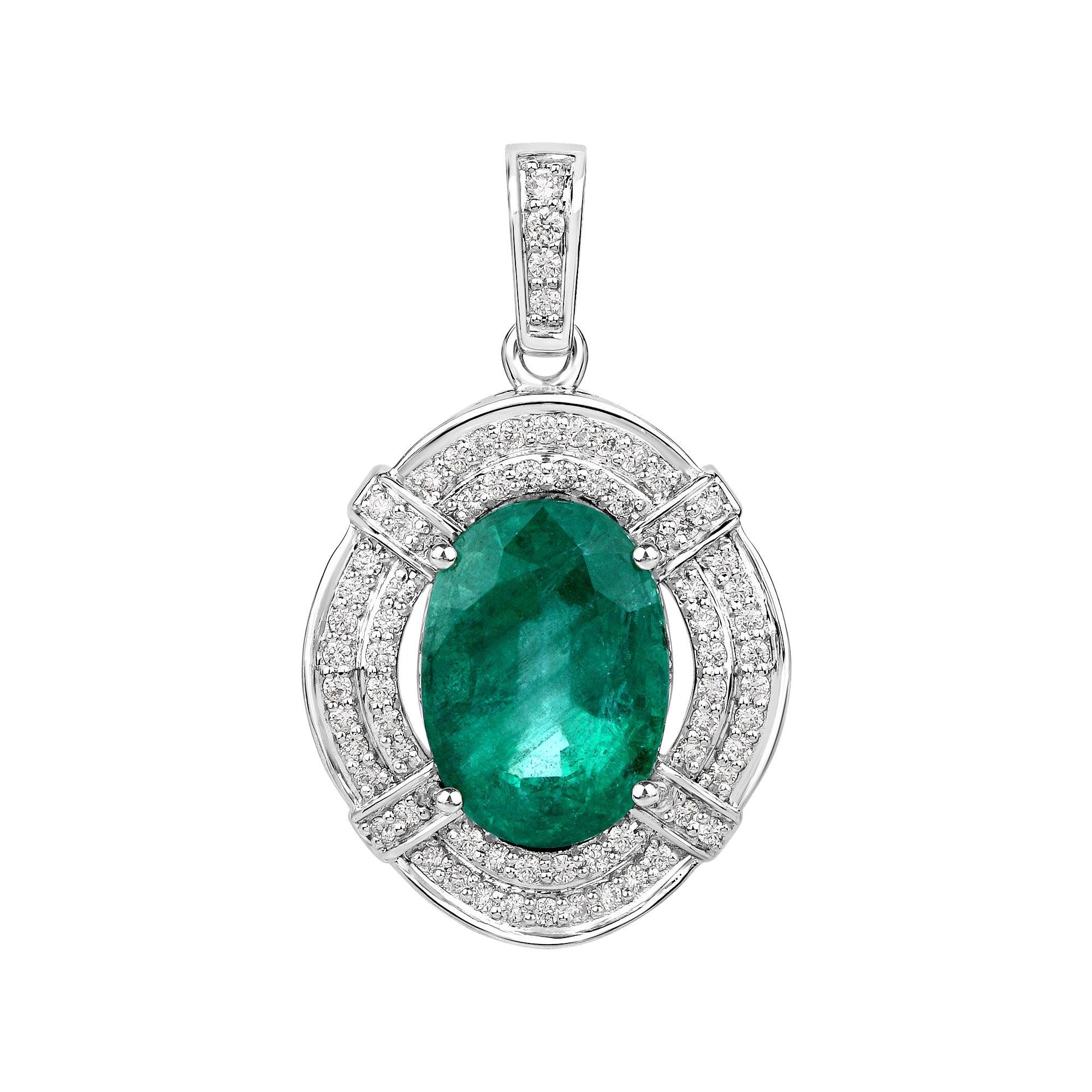 7.15 Carat Zambian Emerald and White Diamond 18 Karat White Gold Pendant