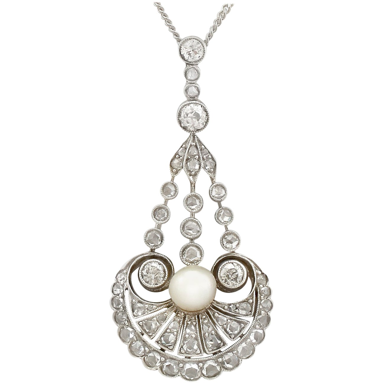 Antique Natural Pearl and 1.48 Carat Diamond Yellow Gold Pendant