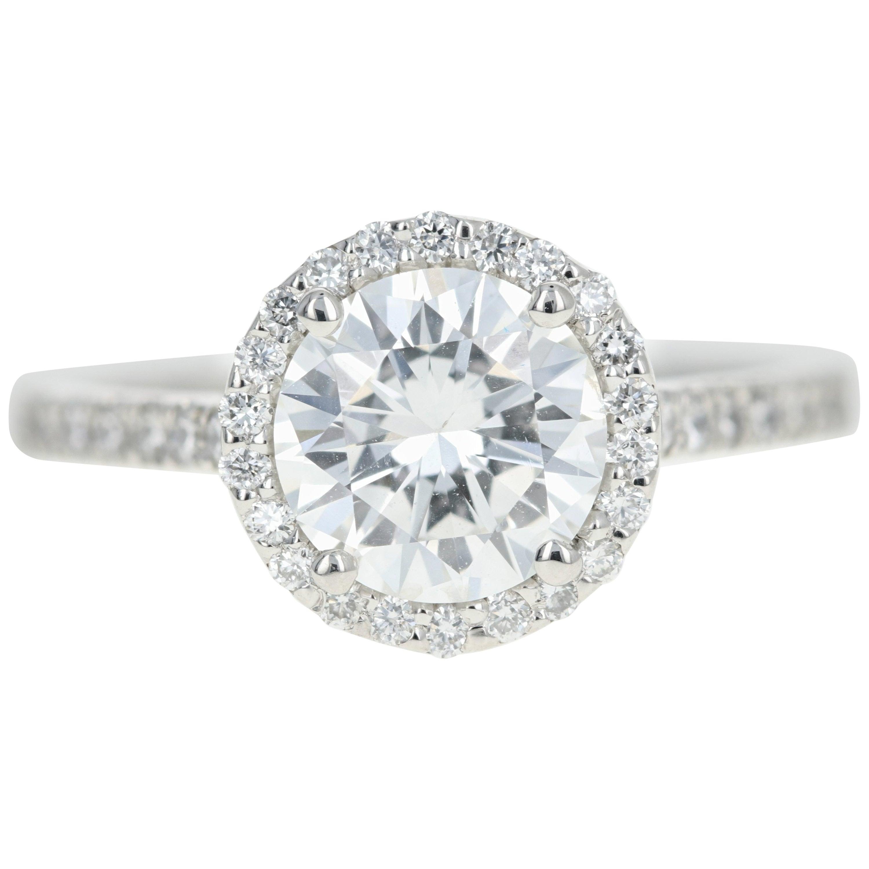 Platinum 1.56 Carat Round Brilliant Cut Diamond Halo Engagement Ring