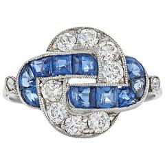 Art Deco Sapphire Diamond Platinum Knot Ring