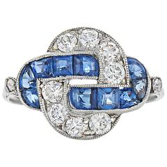 Art Deco Sapphire Diamond Platinum Knot Ring