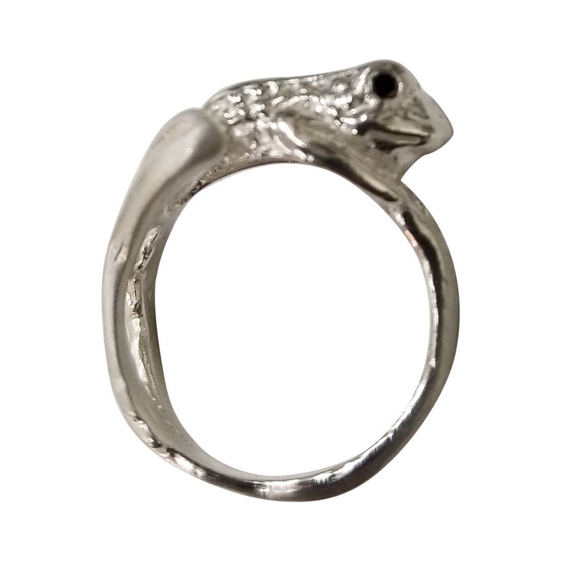 """Sterling Silver """"Frog"""" Ring with a Black Diamond Eyes"""
