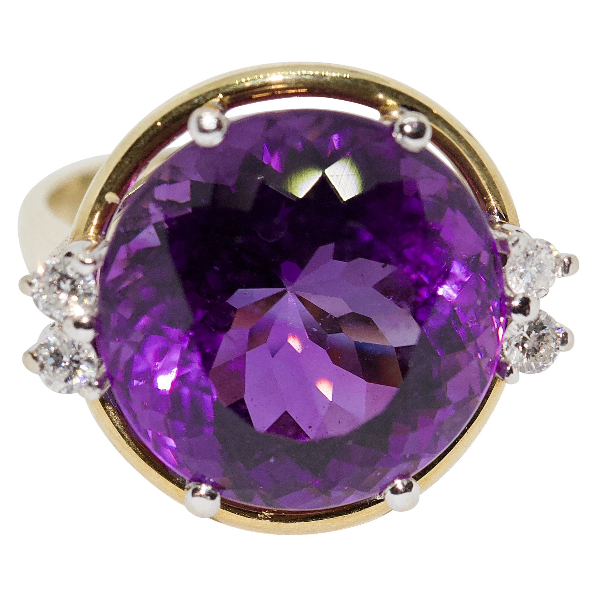Ladies Ring, 14 Karat Gold with Large Faceted Amethyst and Diamonds