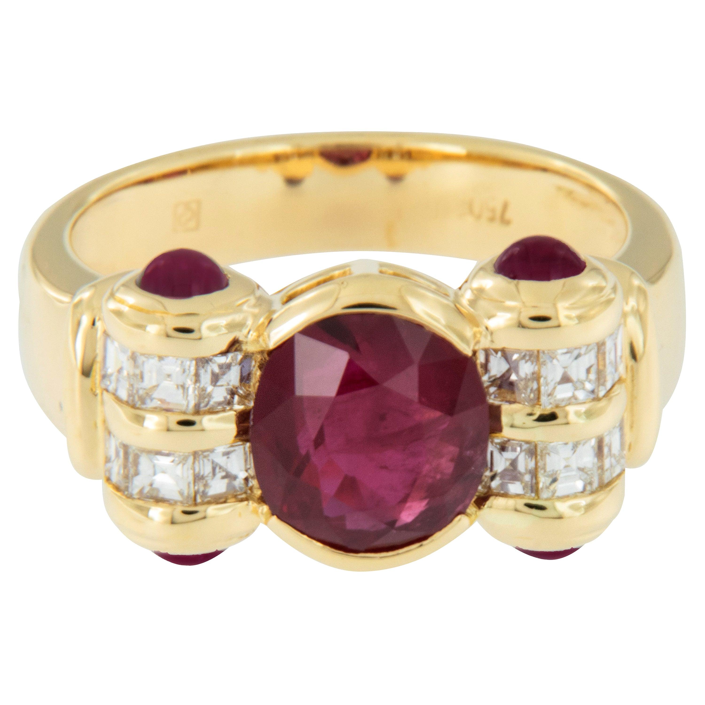 18 Karat Gold Ruby and Diamond Ring