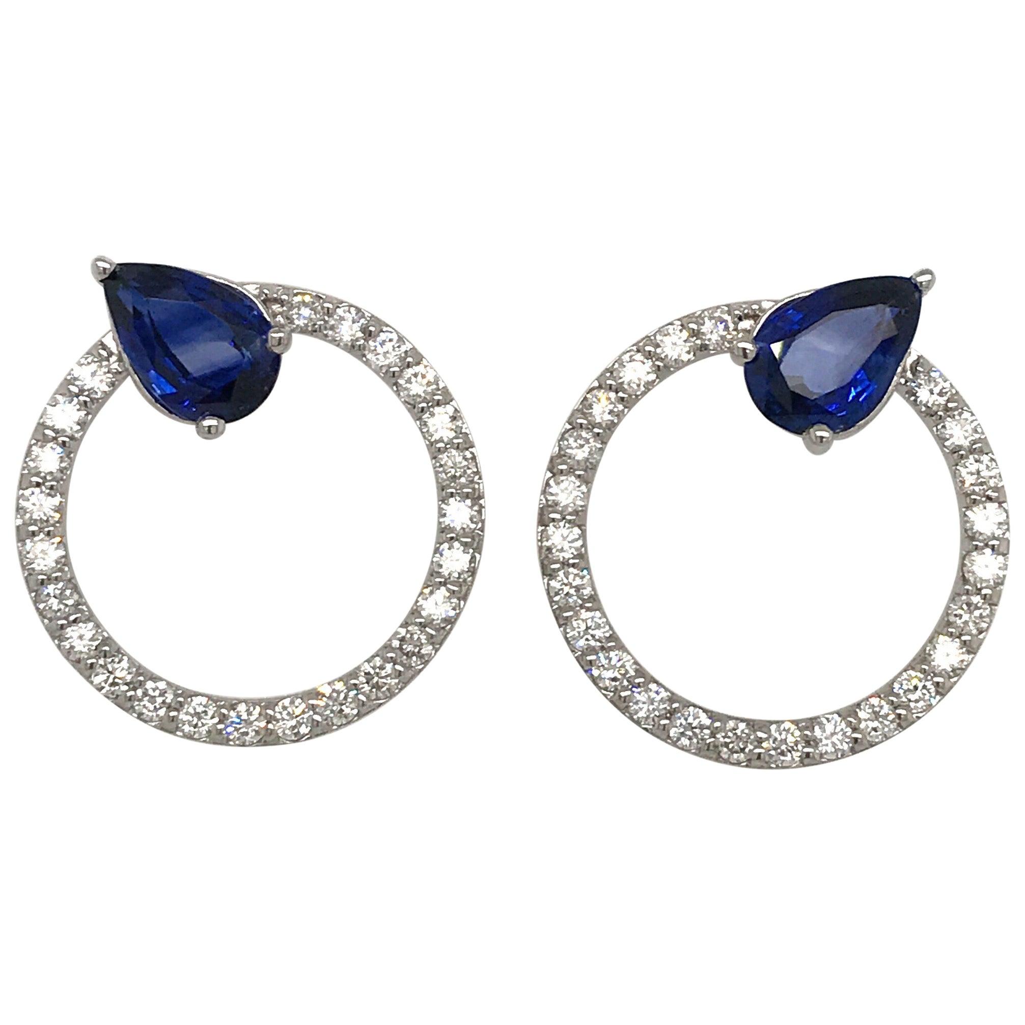 Sapphire Diamond Hoop Earrings 4.91 Carat 14 Karat White Gold
