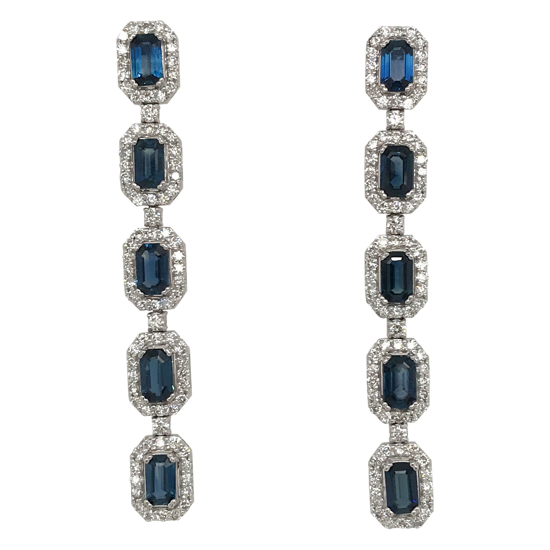 Sapphire Diamond Halo Drop Earrings 4.91 Carat 14 Karat White Gold