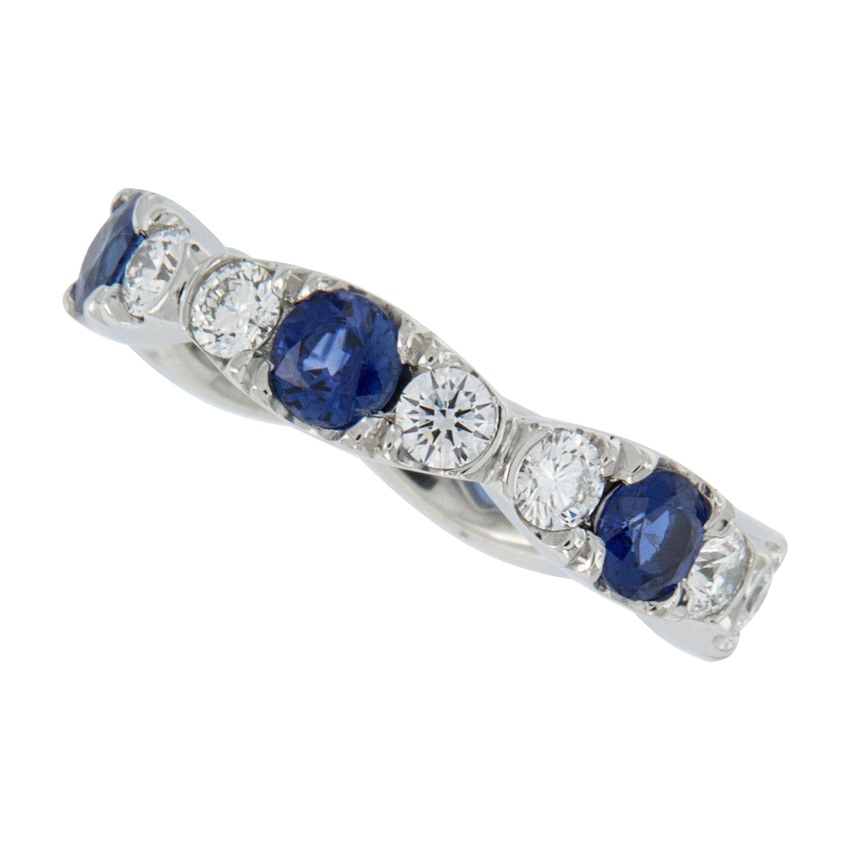 William Rosenberg Platinum Sapphire and Diamond Eternity Ring