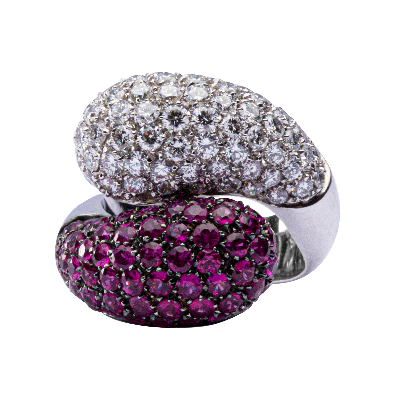 Jona Ruby White Diamond 18 Karat White Gold Crossover Dome Cocktail Ring