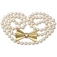 Art Deco Style Single Strand Pearl and Yellow Gold Necklace