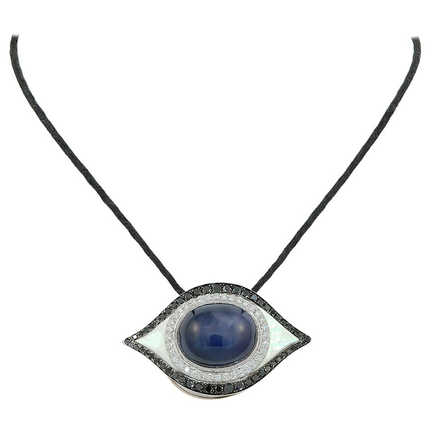 Star Sapphire, Diamond, Mother of Pearl Satin Cord Pendant/Necklace