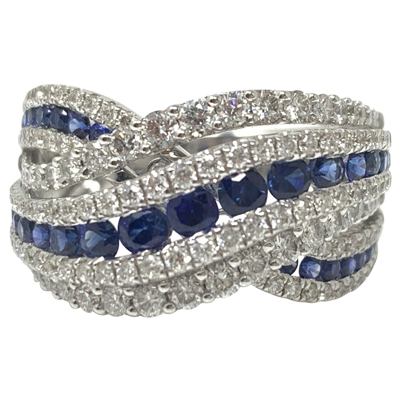 Blue Sapphire and White Diamond Ring in 18 Karat White Gold