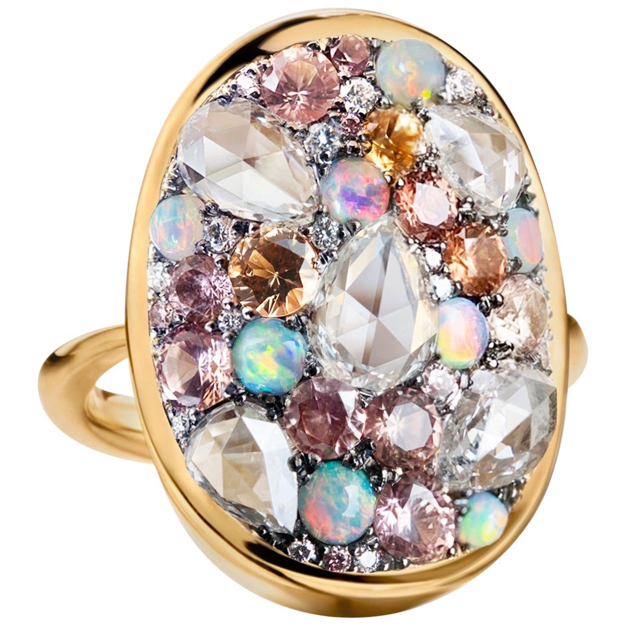 Padparadscha Sapphire, Australian Opal, Rose-Cut Diamond Pave Ring