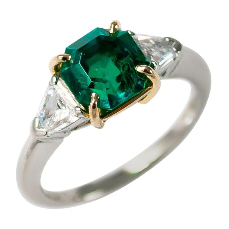 J. Birnbach AGL Certified 1.84 Carat Emerald and Diamond Three-Stone Ring