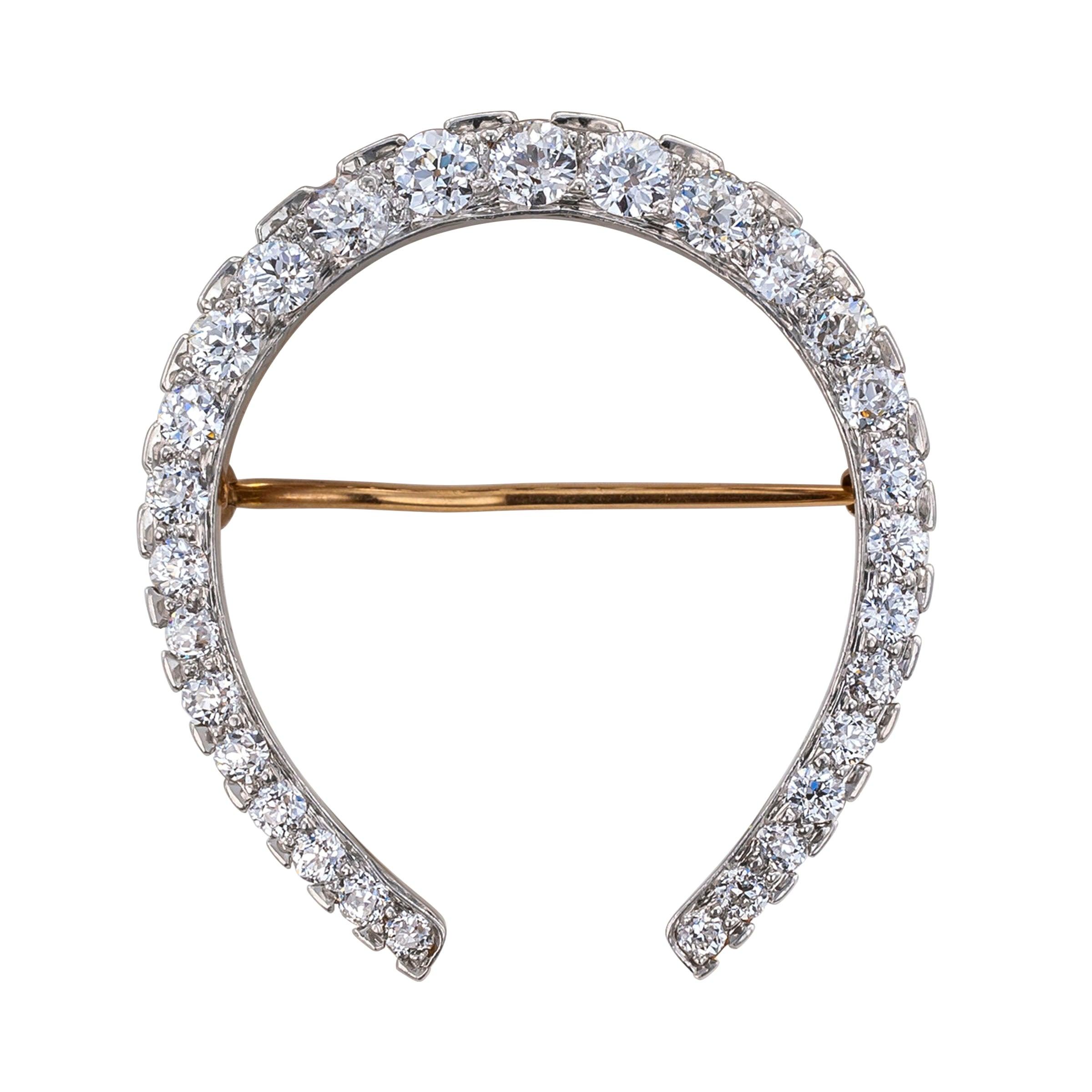 Edwardian Diamond Gold Platinum Horseshoe Brooch