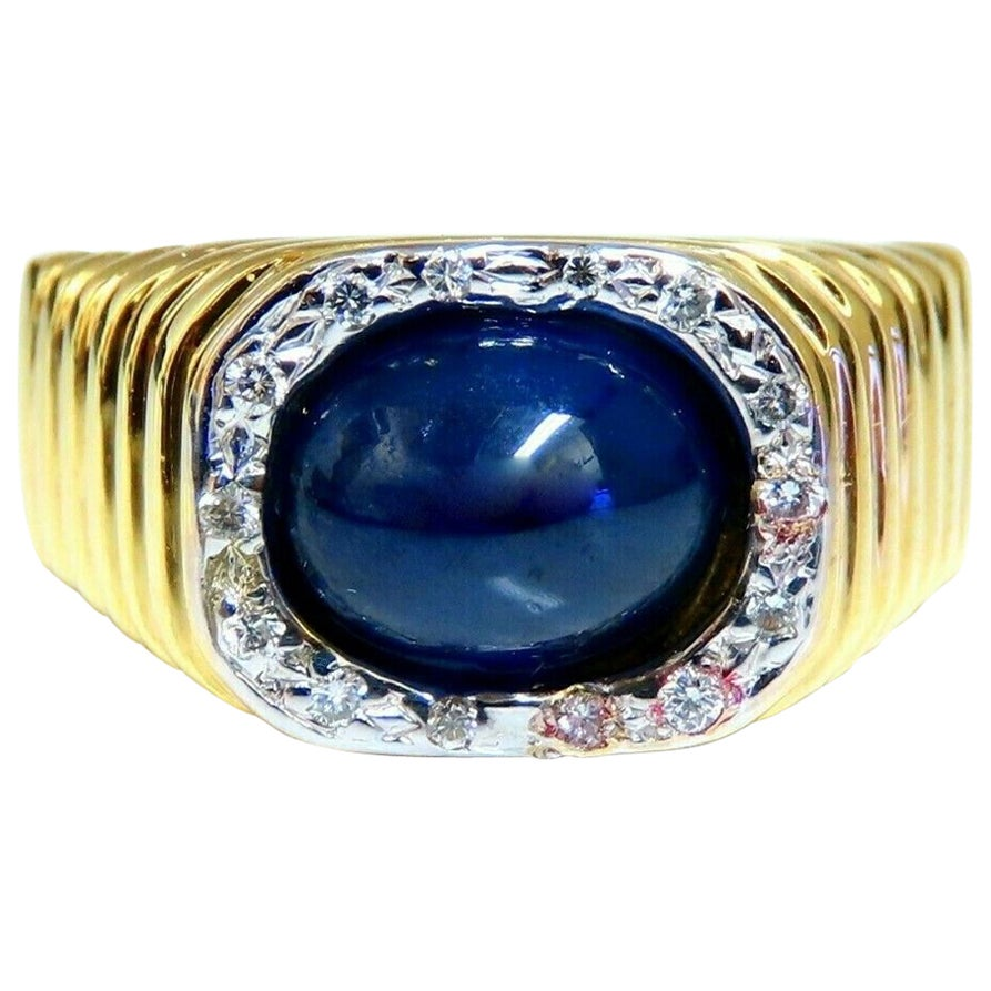 3.20 Carat Natural Cabochon Sapphire Diamonds Vintage Ring 14 Karat