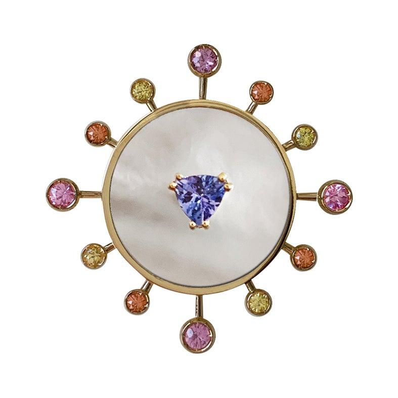 18 Karat Yellow Gold '8.60 gr' White Mop, Tanzanite, Sapphires, Ring