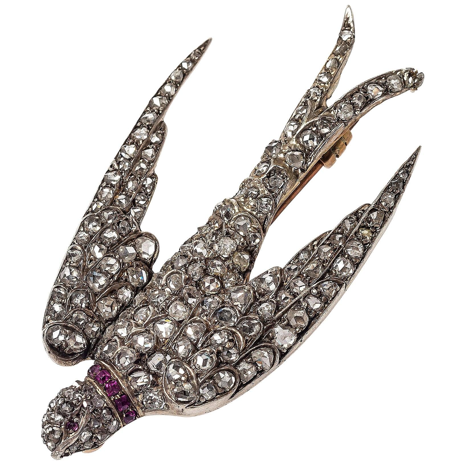 Antique Swallow Dive Diamond Silver Gold Enamel Brooch