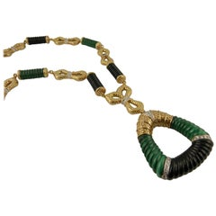 1970s Malachite Onyx Gold Diamond Necklace