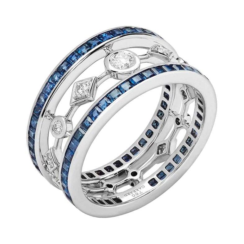 Garrard 'Fanfare' 18 Karat White Gold White Diamond Blue Sapphire Ring