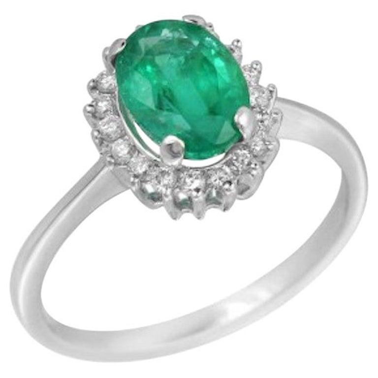 Solitaire 1.4 Carat Emerald White Diamond Gold Ring