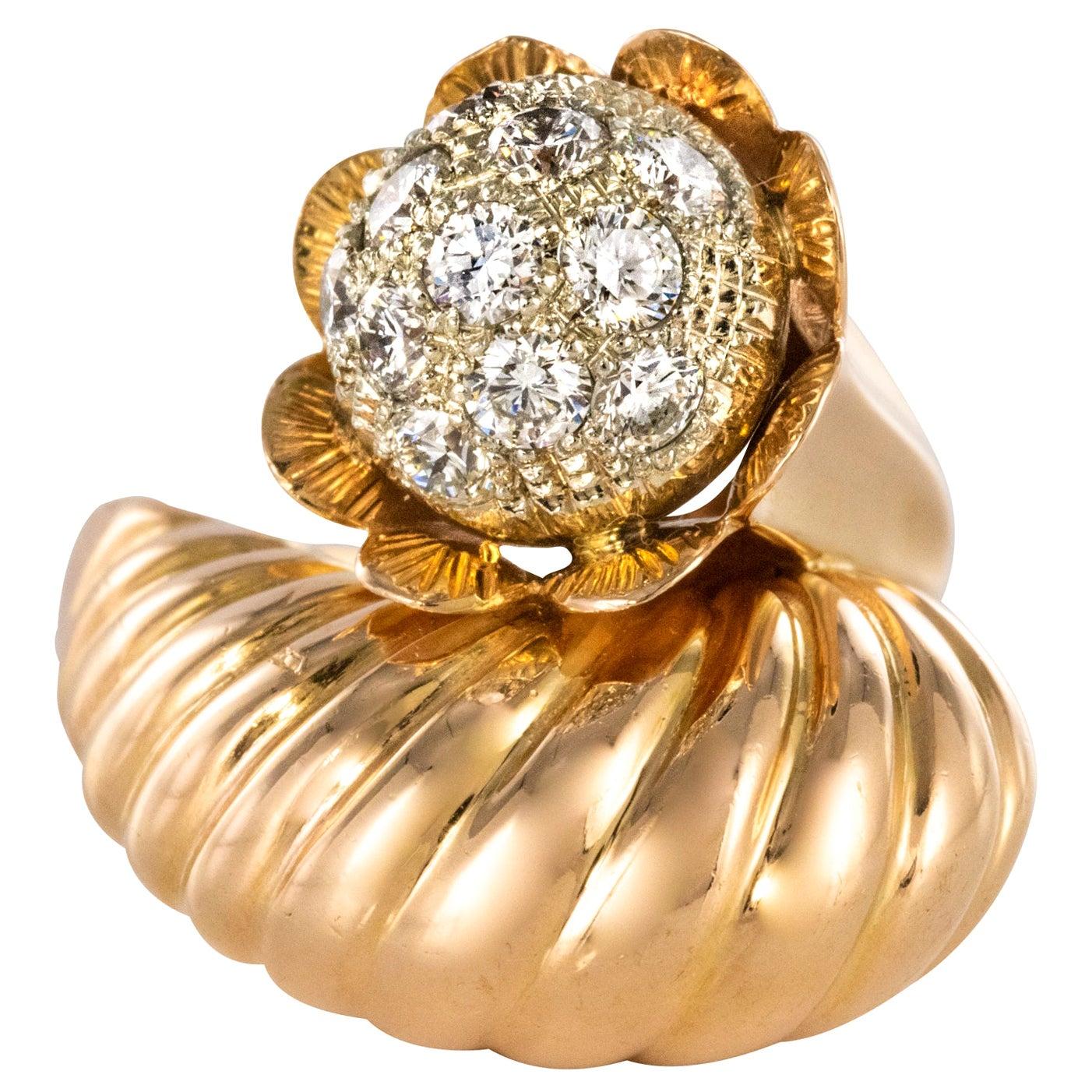 1950s Retro Diamond 18 Karat Yellow Gold Fashion Ring