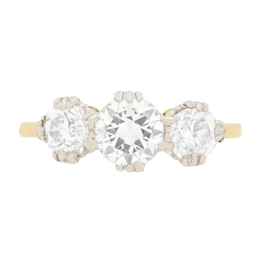 Art Deco 1.65 Carat Diamond Three-Stone Engagement Ring, circa 1920s