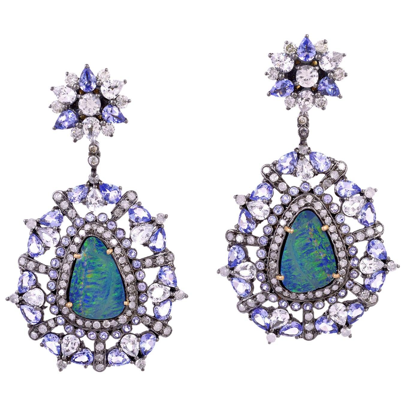 Opal Tanzanite Diamond Earrings
