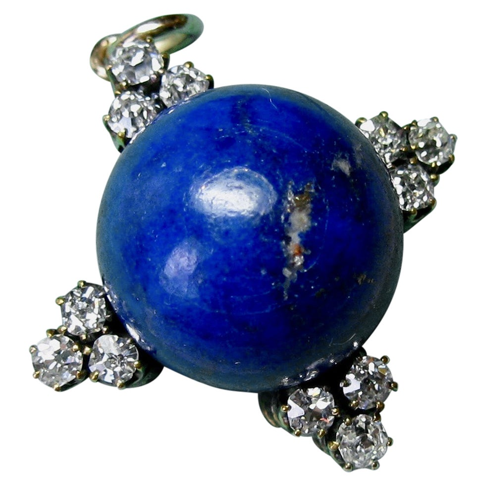 Art Deco Diamond Lapis Lazuli Pendant Old Mine Cut Diamonds Gold