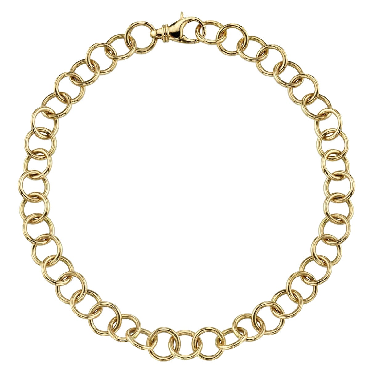 Handcrafted Yellow Gold Link Club Necklace
