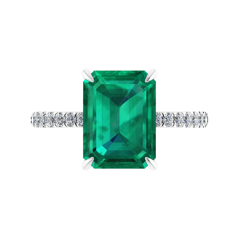 GIA Certified 4.14 Carat Emerald Cut Colombian Emerald Diamond Platinum Ring