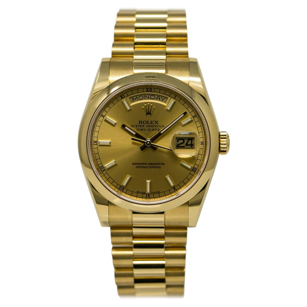 Rolex Day-Date 118208, Silver Dial, Certified and Warranty