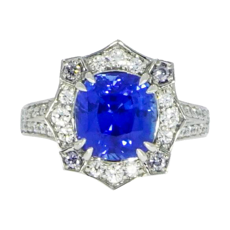 Certified Natural Ceylon Sapphire and Diamond Platinum Ring