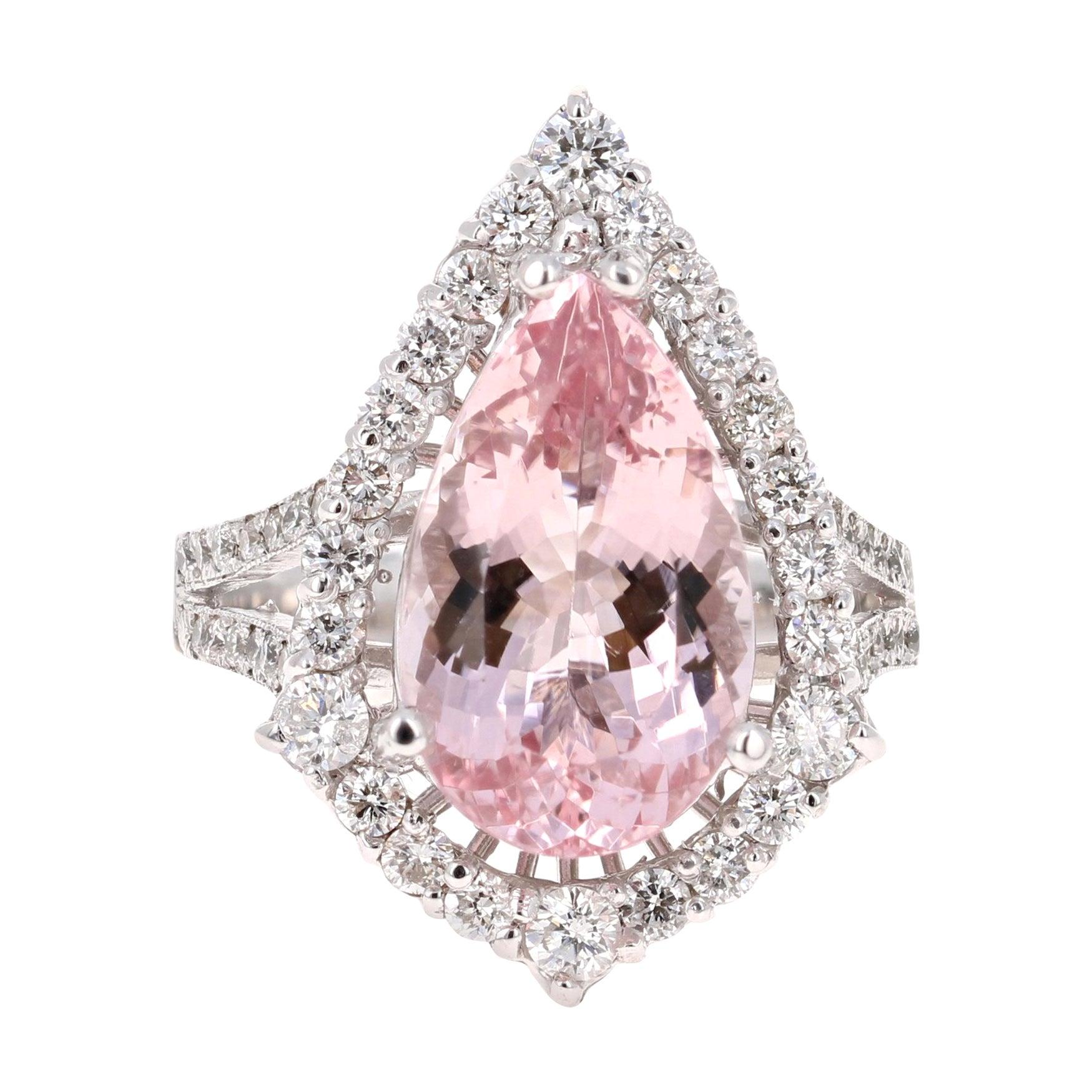 6.18 Carat Pink Morganite Diamond 18 Karat White Gold Engagement Ring