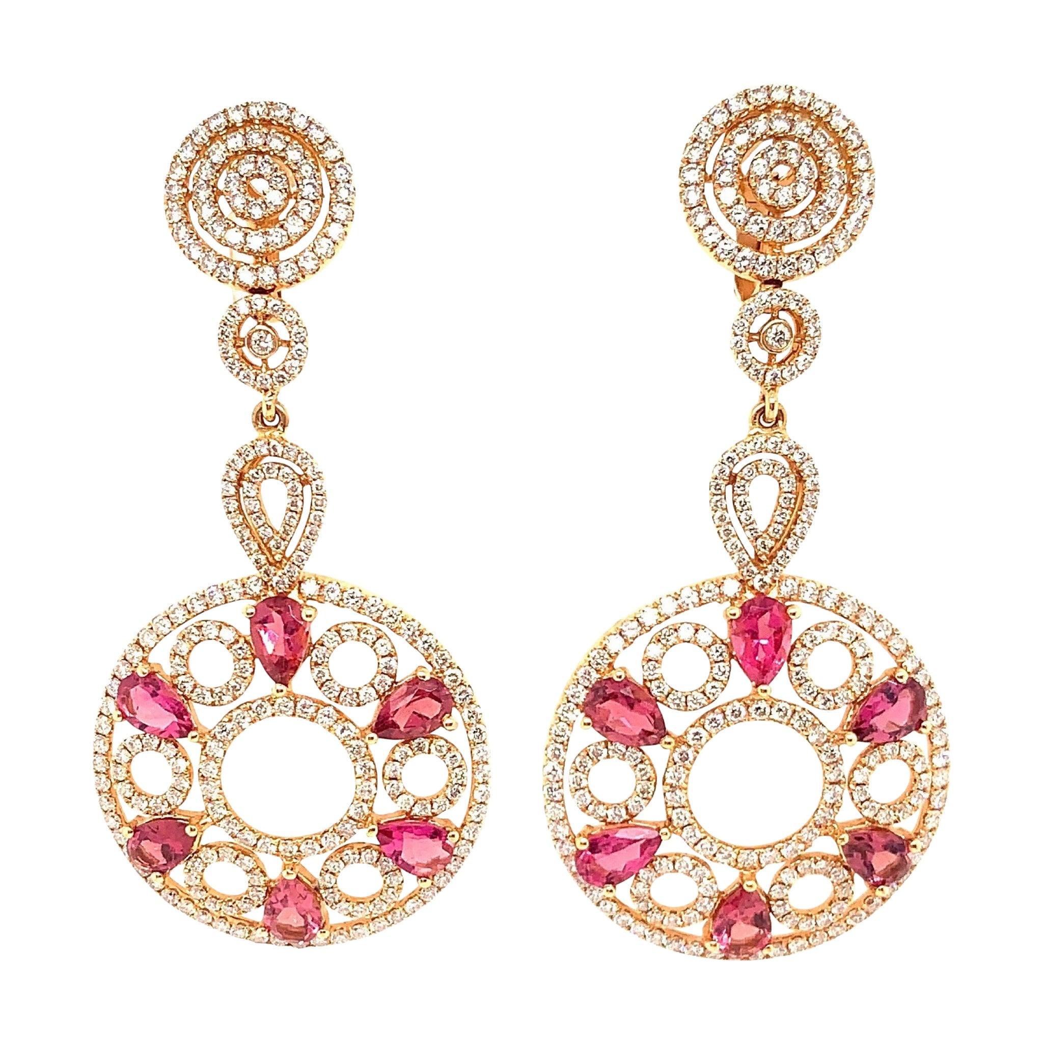 4.41 Carat Pink Tourmaline/ pink/ Designer 18k rose gold Diamond Earring