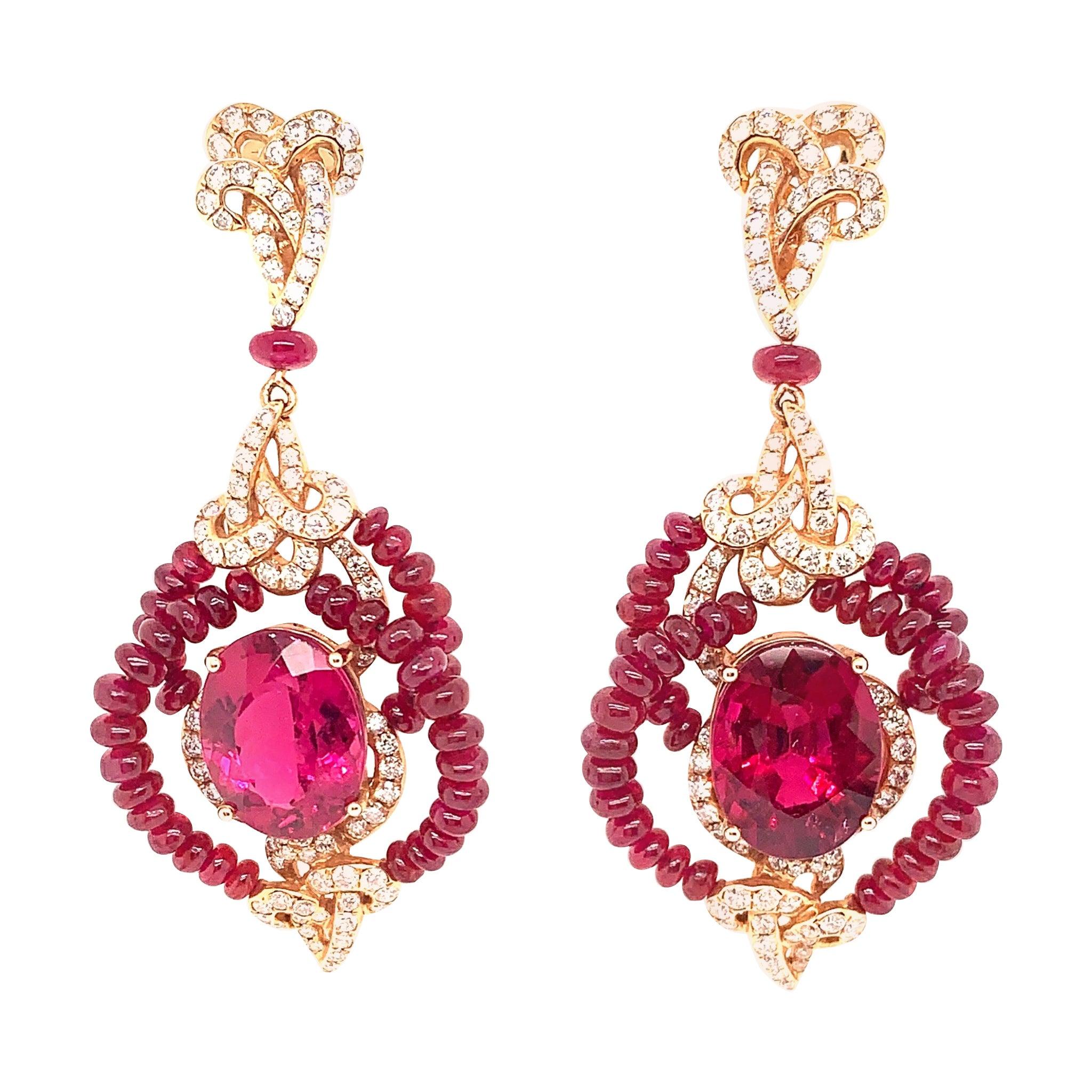 15 Carat Rubelite / Ruby Beads/ 18k Rose gold Designer Diamond Earring
