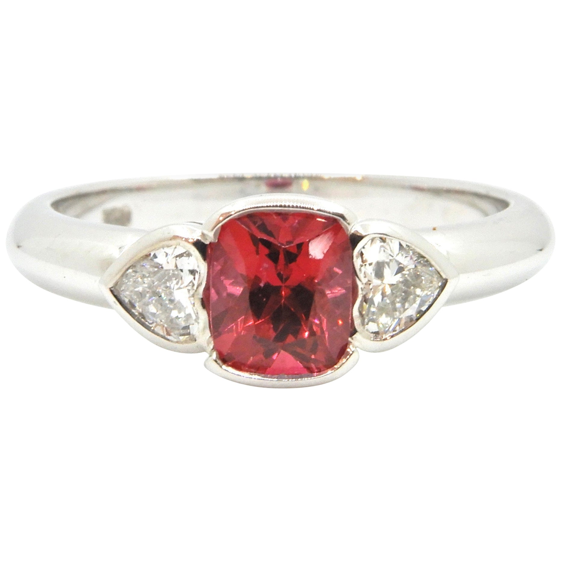 Red Spinel and Heart Cut Diamond White Gold Handmade Three-Stone Engagement Ring