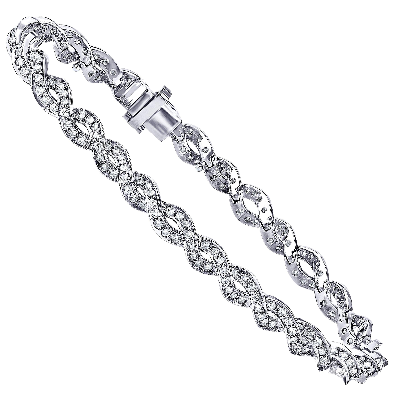 Emilio Jewelry 3.00 Carat Micro Pave Diamond Gold Bracelet