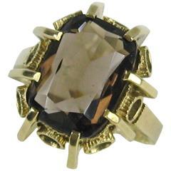 1950s Gold Ring Smokey Quartz
