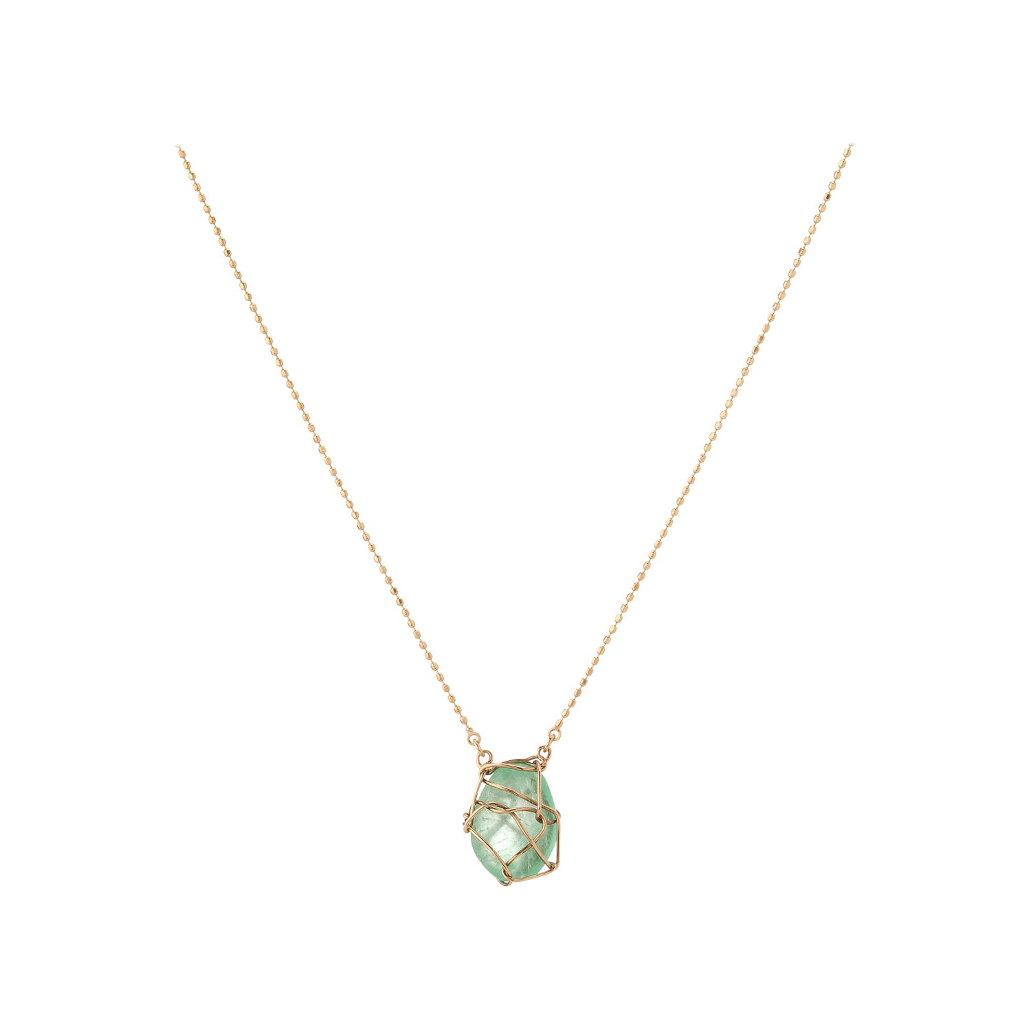 Muzo Emerald Colombia Emerald 18K Yellow Gold Drop Necklace