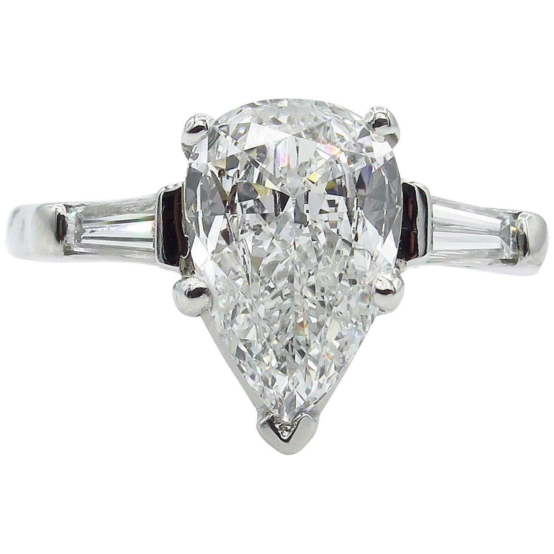 GIA Shy 2.00 Carat Colorless Pear Diamond Engagement Wedding Platinum Ring