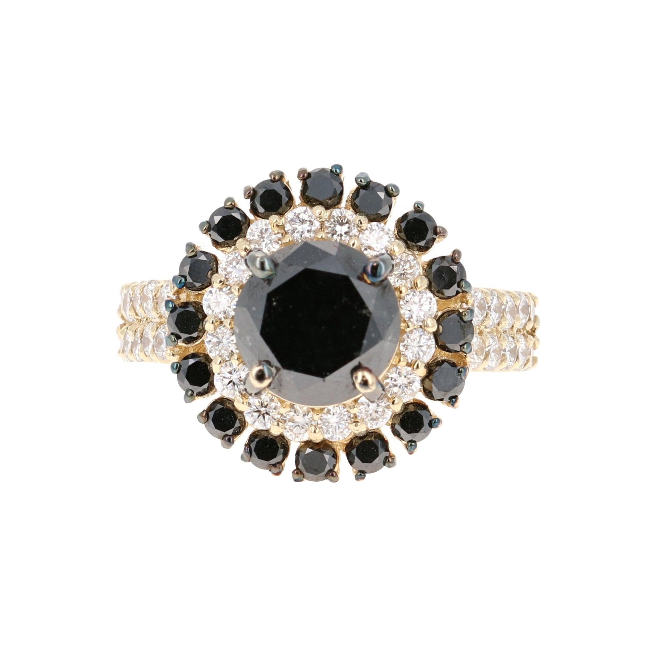 4.54 Carat Black and White Diamond 14 Karat Yellow Gold Engagement Ring