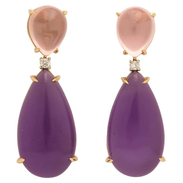 Faraone Mennella Couture Pink Quartz Amethyst Gold Drop Earrings