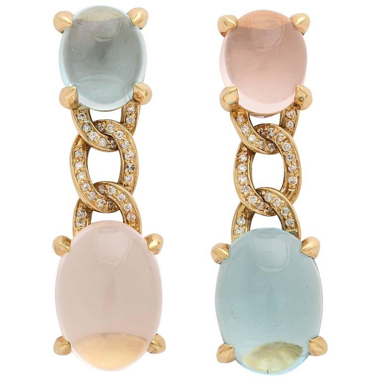 Faraone Mennella Blue Topaz Rose Quartz Diamond Gold Drop Earrings 1